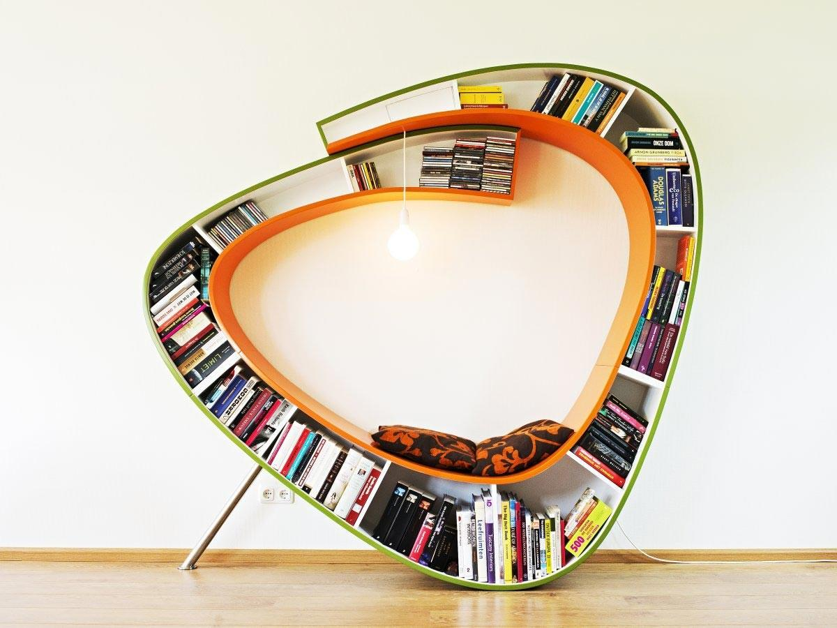Stylish Mount Wall Unique Metal Bookcase Over Floating