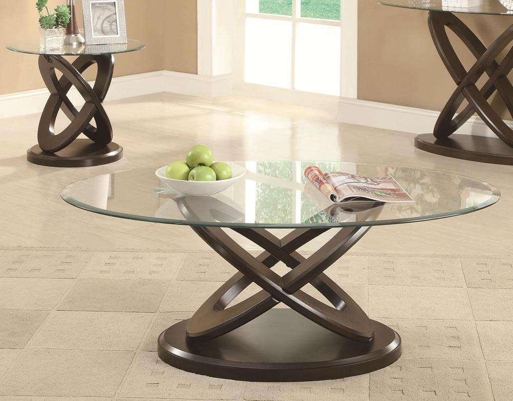 Stylish Oval Glass Coffee Table Floral Design