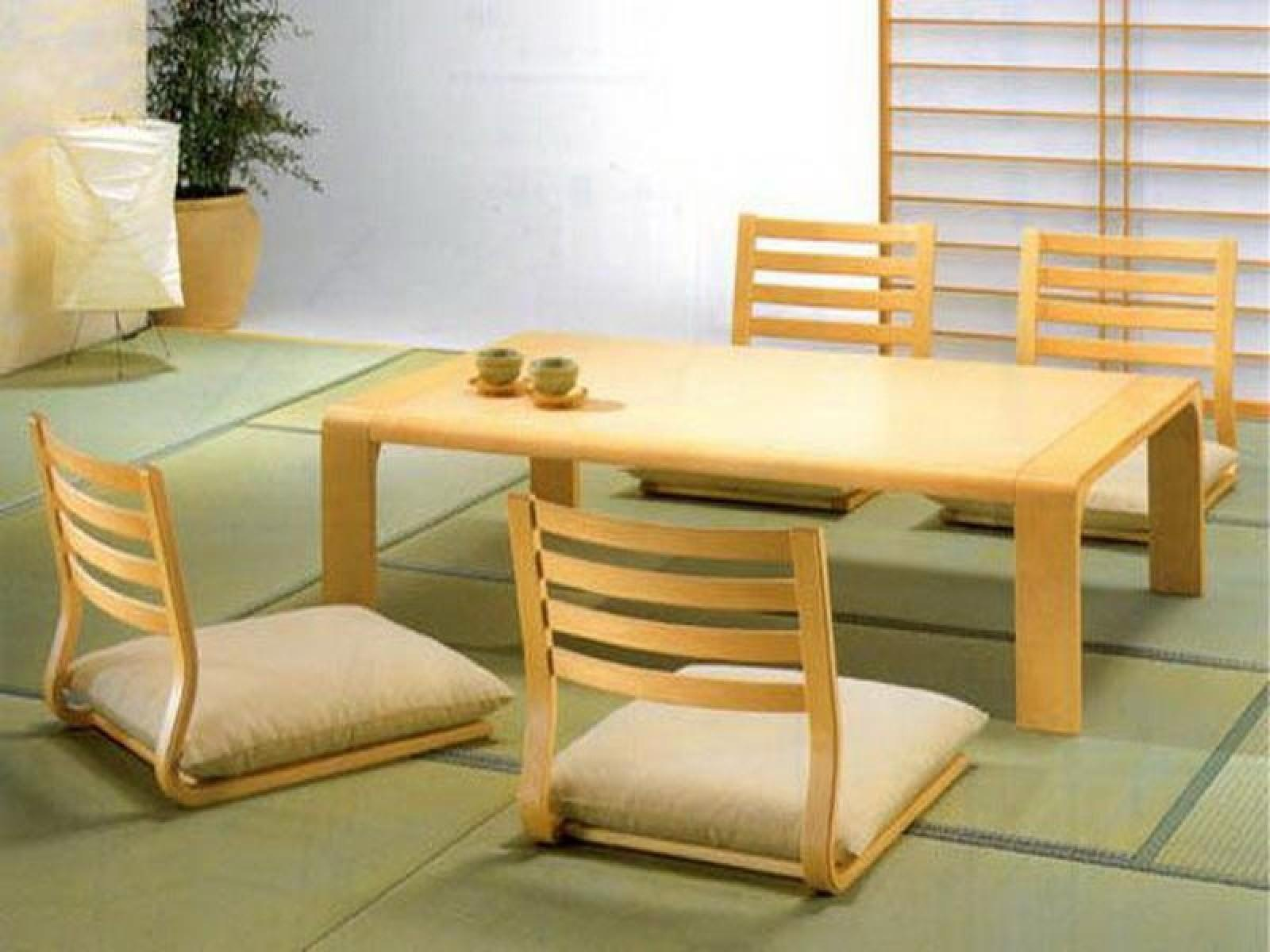Stylish Rectangle Pine Japanese Dining Table Four