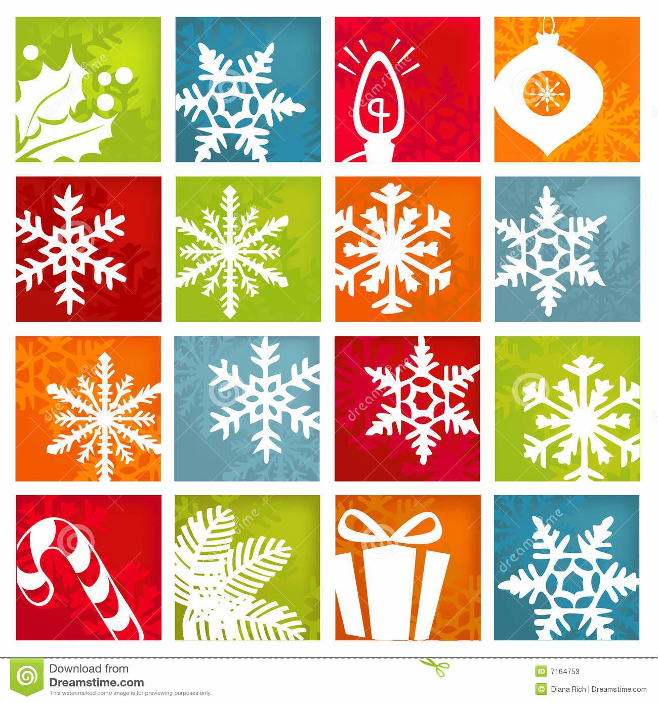 Stylized Winter Holiday Icons Stock Vector
