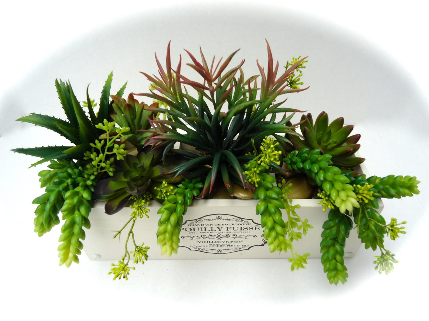 Succulent Arrangement Artificial Rustic Wooden Planter