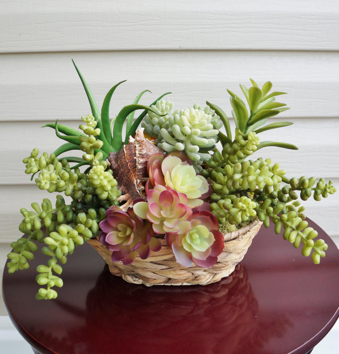 Succulents Artificial Succulent Arrangement Woven Planter