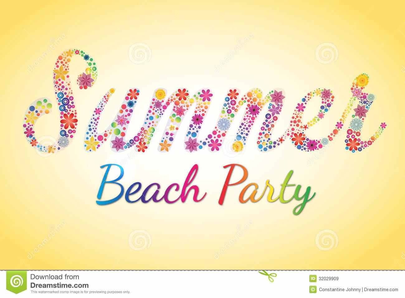 Summer Beach Party Vector Flower Typography Stock