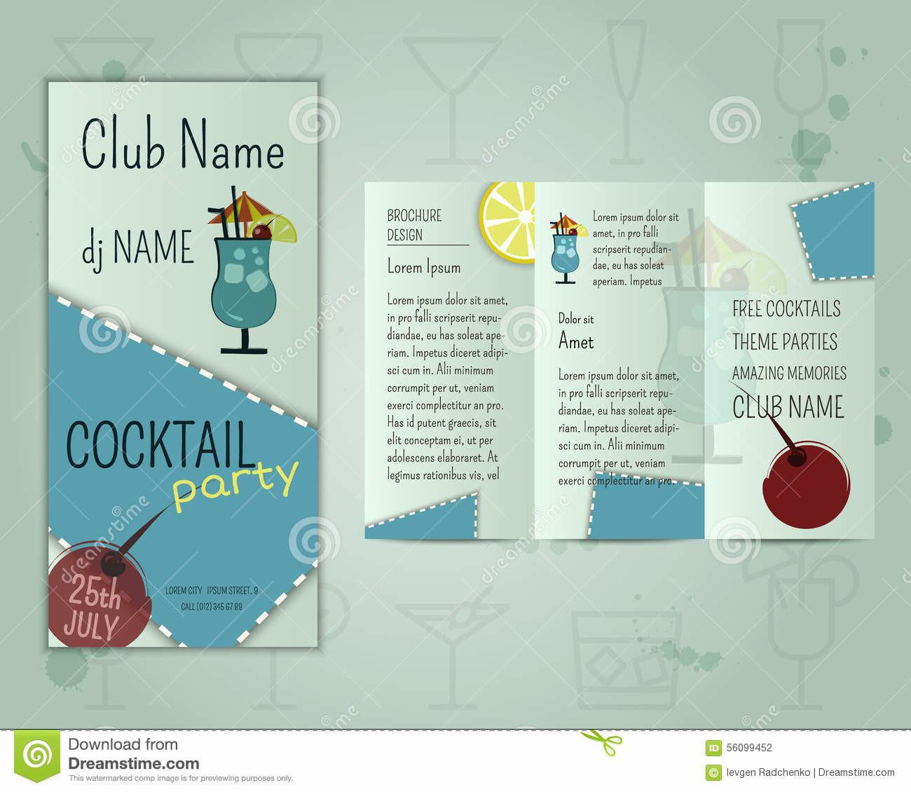 Summer Cocktail Party Flyer Layout Template Stock