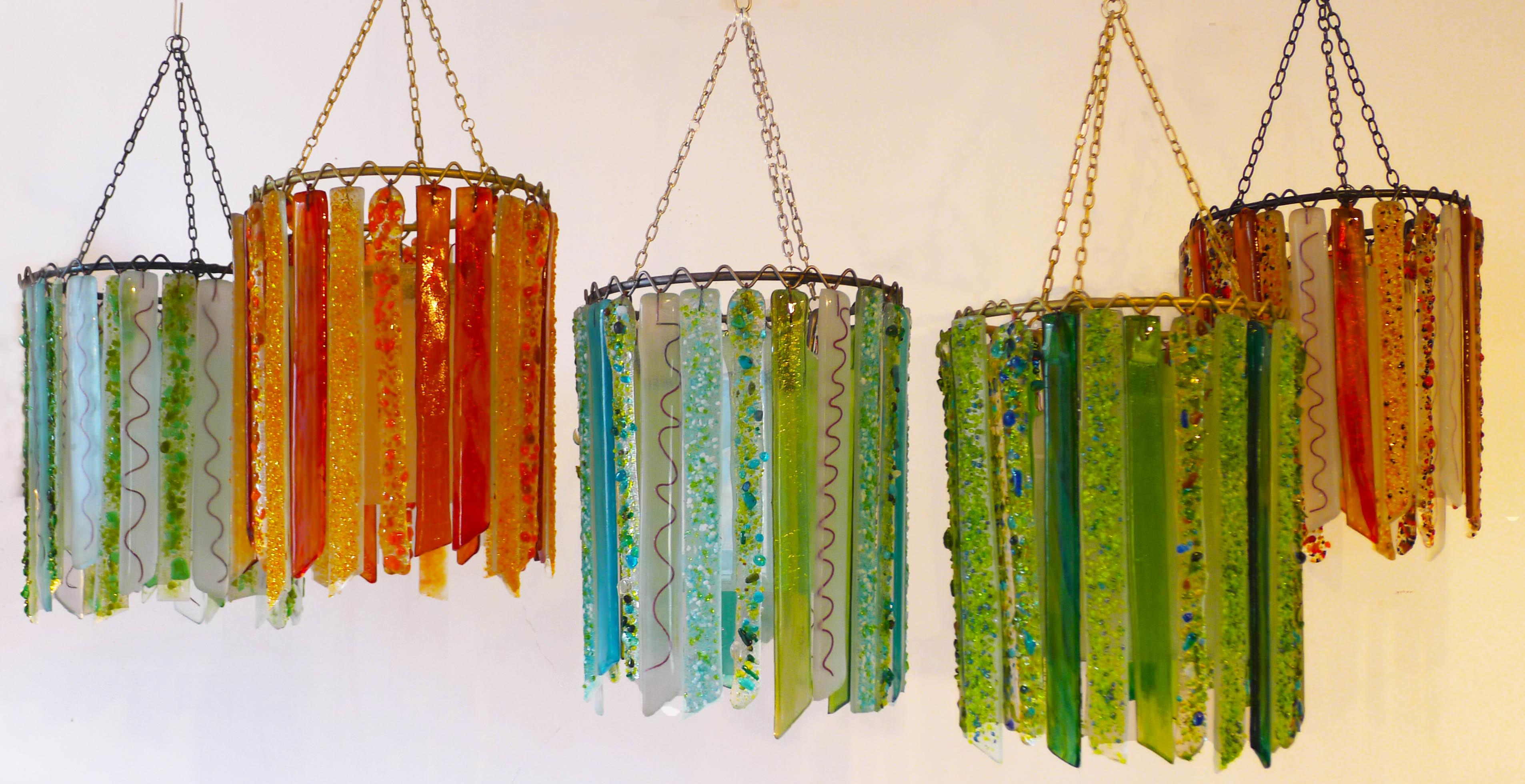 Summer Lovin Lovers Lights Recycled Glass Chandeliers