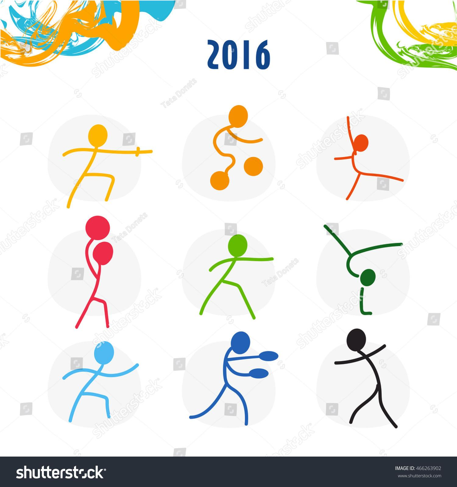 Summer Olympic Games Sport Icons Set Stock Vector