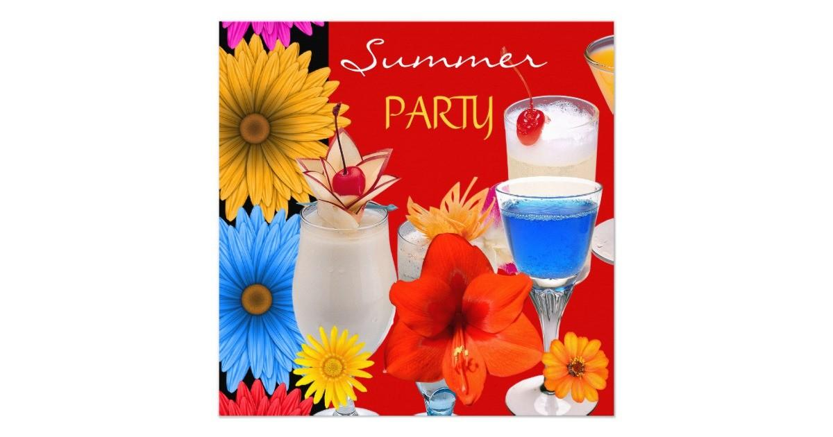 Summer Party Cocktails Drinks Red Blue Yellow Card Zazzle