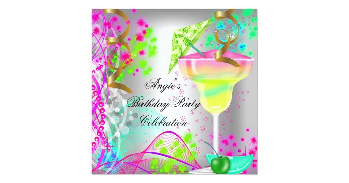 Summer Pink Birthday Party Colorful Cocktail Card Zazzle