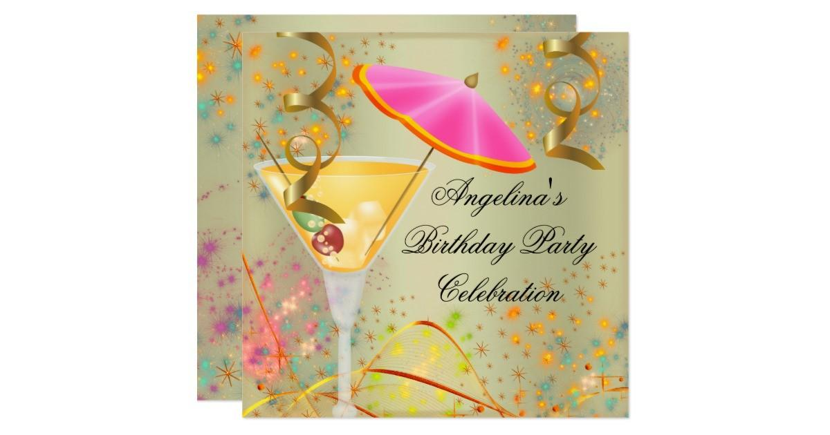 Summer Pink Gold Birthday Party Colorful Cocktail Card