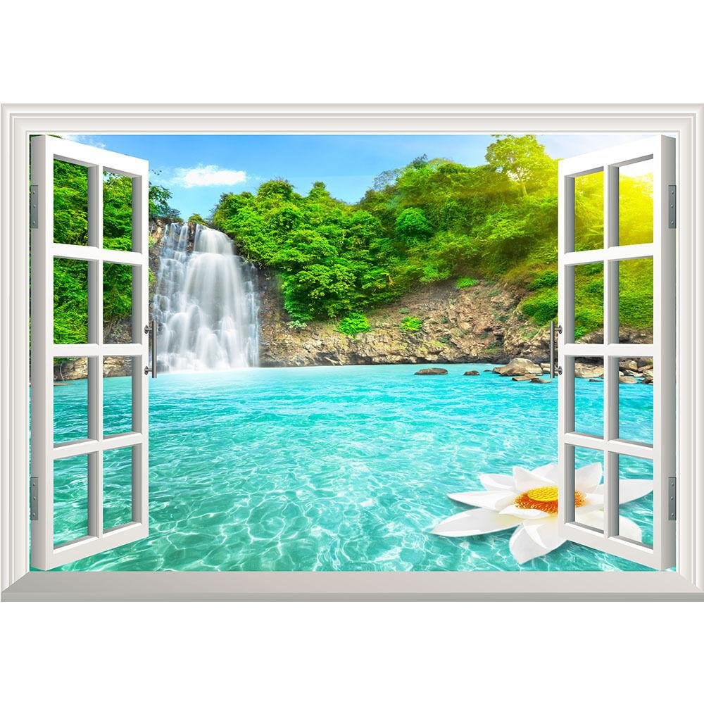Summer Waterfall Nature Window Huge Removable Wall