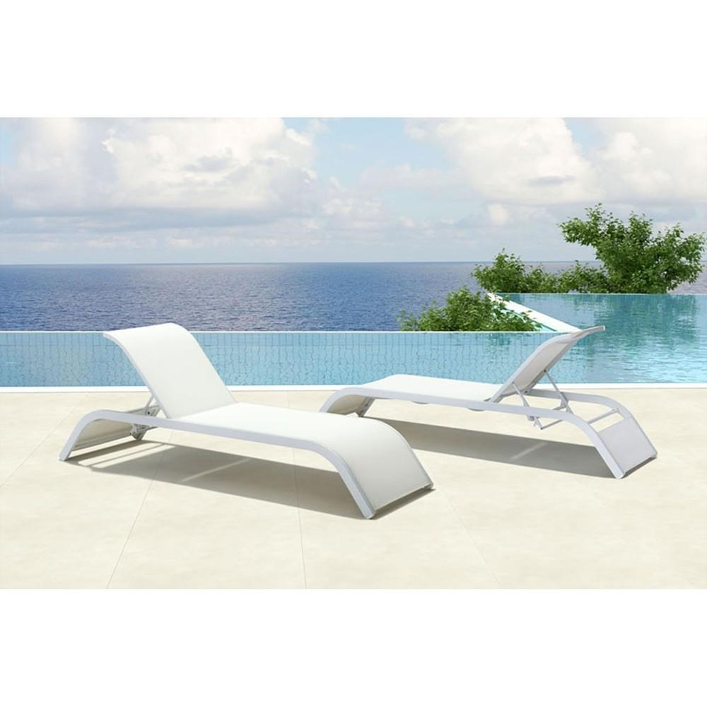 Sun Beach Chaise Lounge White Dcg Stores