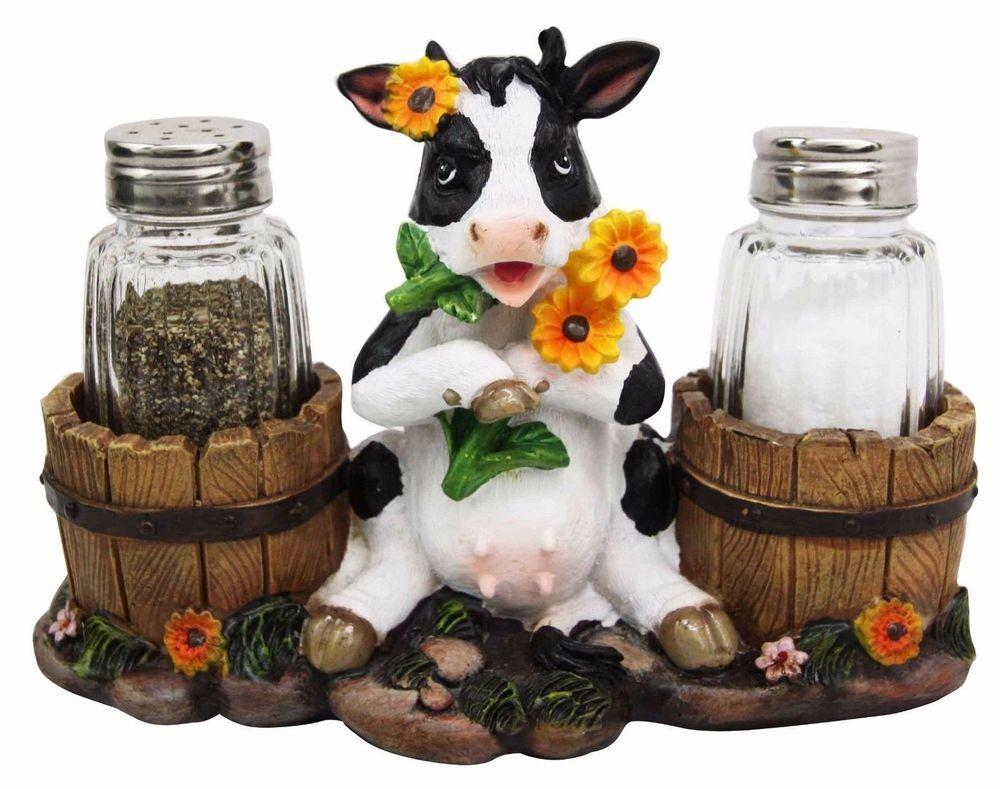 Sunflower Bovine Cow Two Barrels Glass Salt Pepper