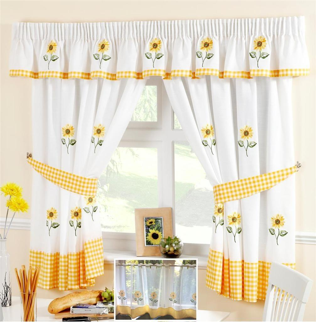 Sunflower Yellow White Voile Cafe Curtain Panel