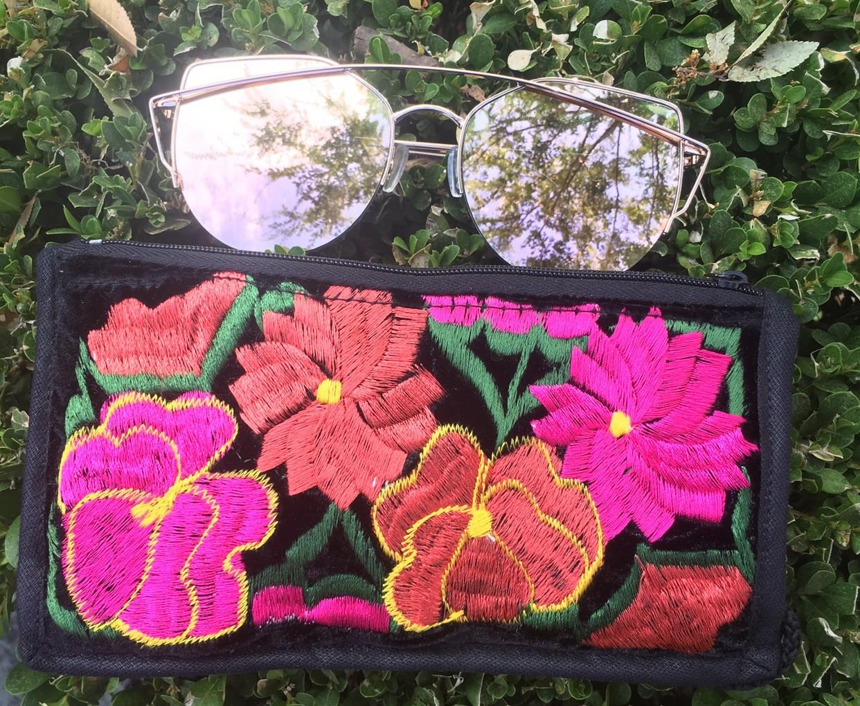Sunglasses Embroidered Bag Wallet Mexican Chic