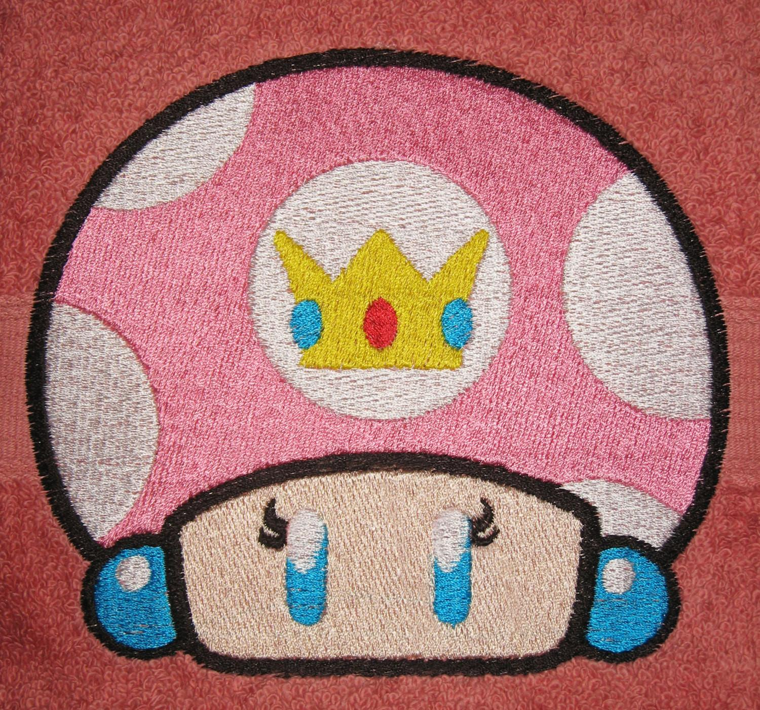 Super Mario Bros Inspired Embroidered Plush Bath Towels
