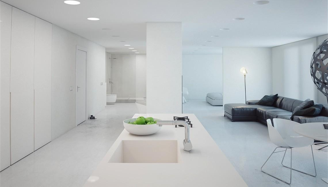 Super Minimalist Modern Apartment White