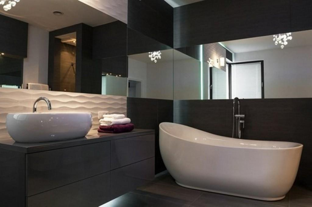 Superb Large Mirror Unique Lights Modern Bathroom