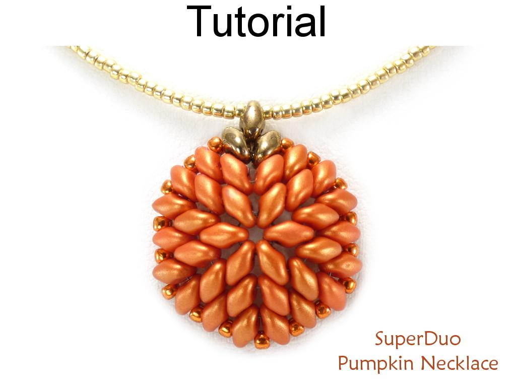 Superduo Beaded Pumpkin Halloween Necklace Two Hole