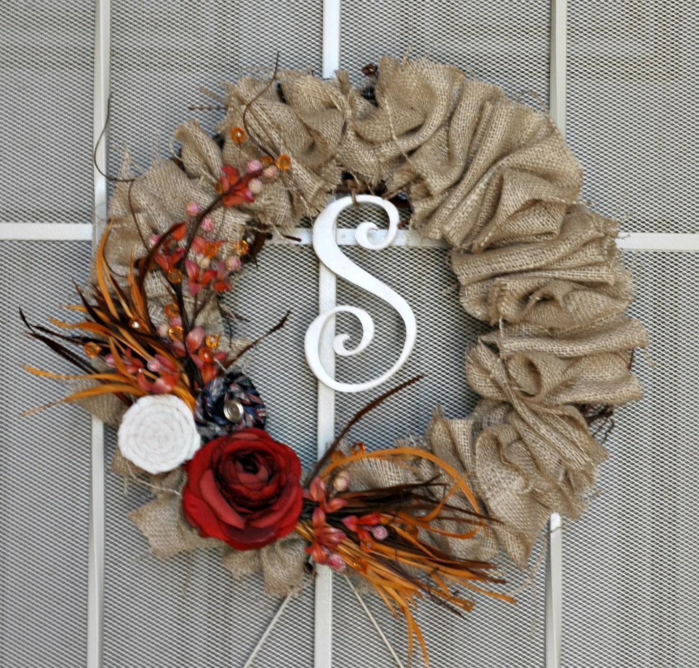 Sweet Passions Thrifty Dime Fall Wreath Burlap