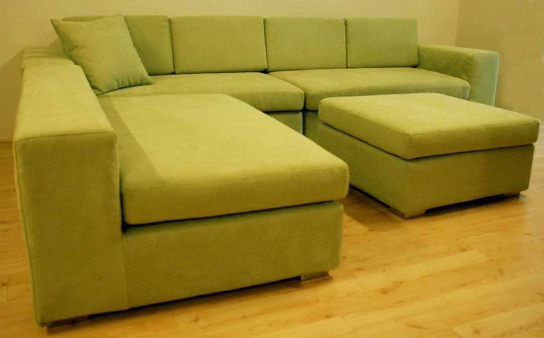 Synthetic Yellow Leather Shaped Modular Couch