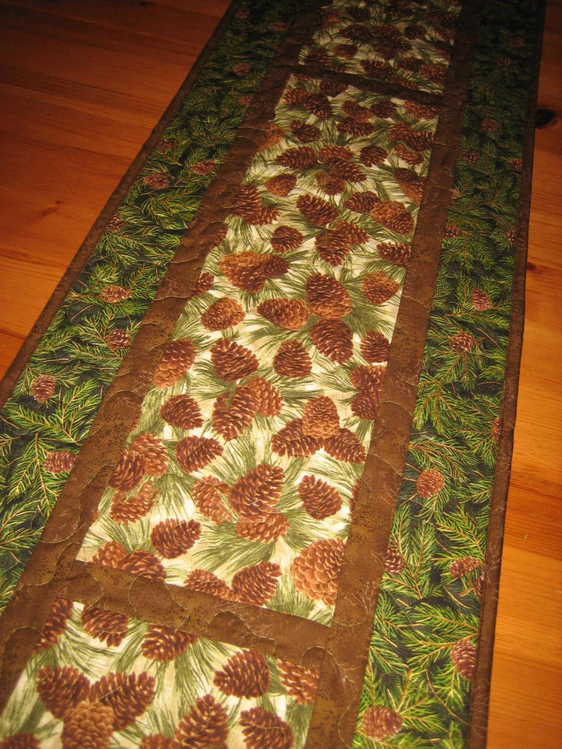 Table Runner Pine Cones Mountain Cabin Rustic Quilted