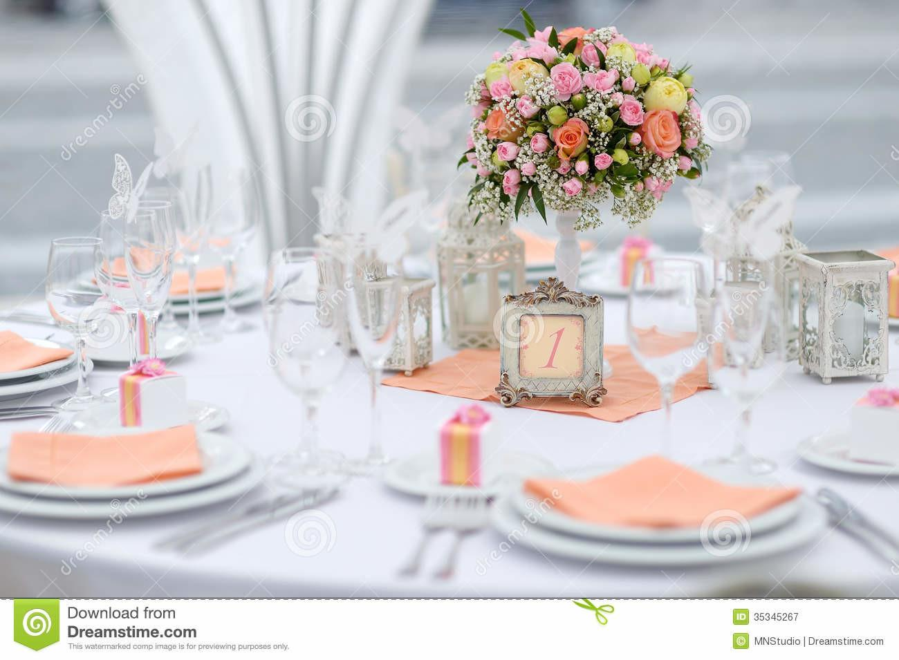Table Set Event Party Wedding Reception Stock