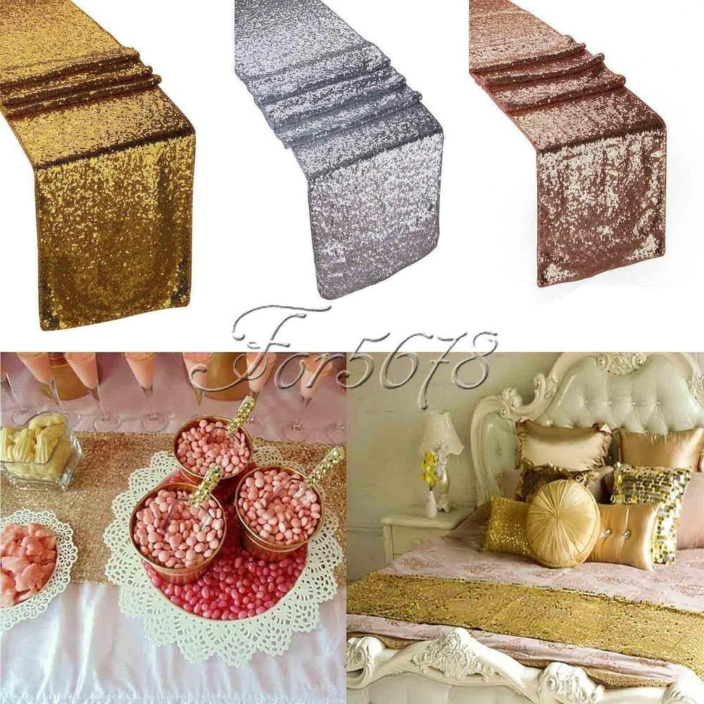 Tablecloth Champagne Gold Silver Sequin Table Runner