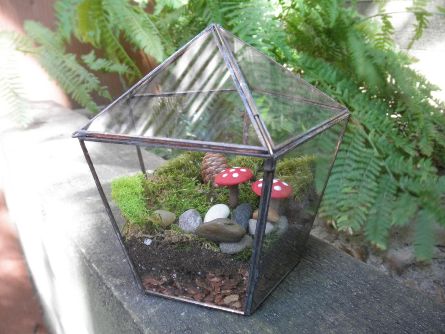 Tabletop Stained Glass Terrarium