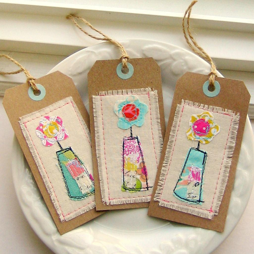 Tag Gift Sewn Fabric Flower