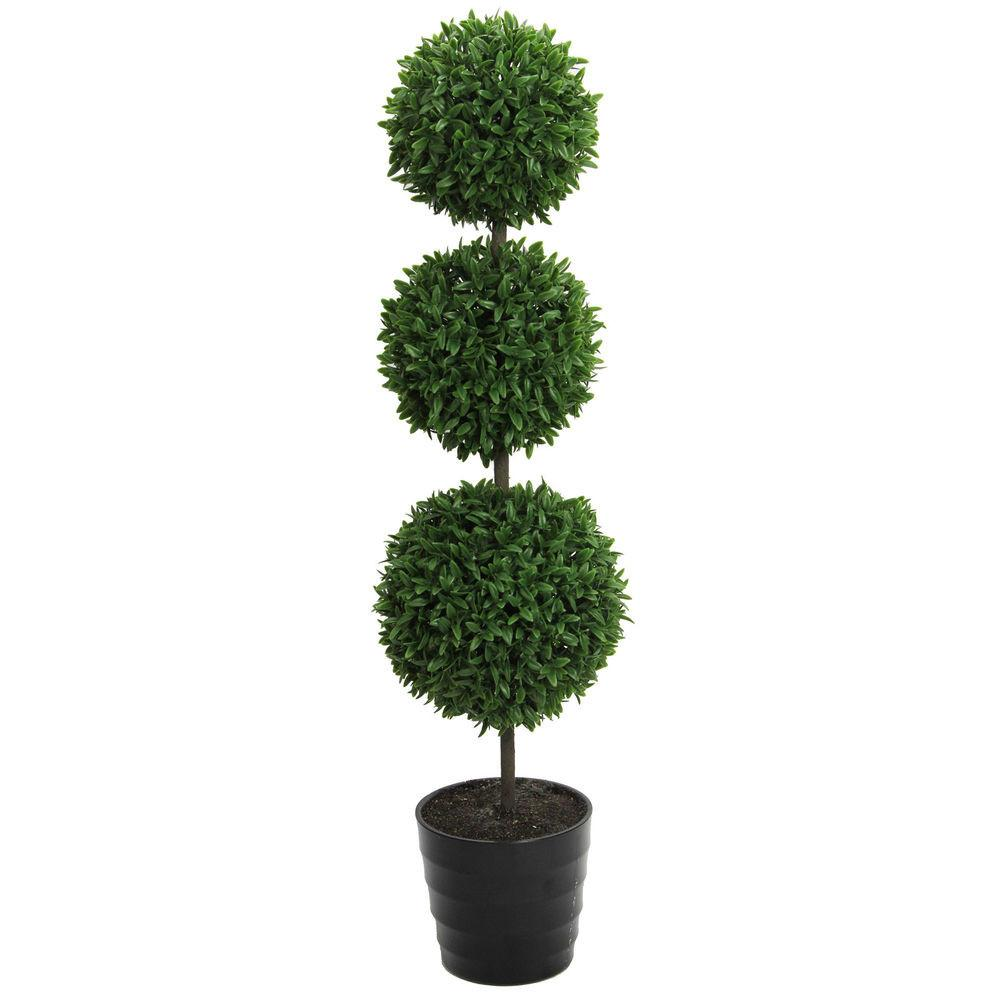 Tall Artificial Tabletop Triple Ball Shaped Boxwood