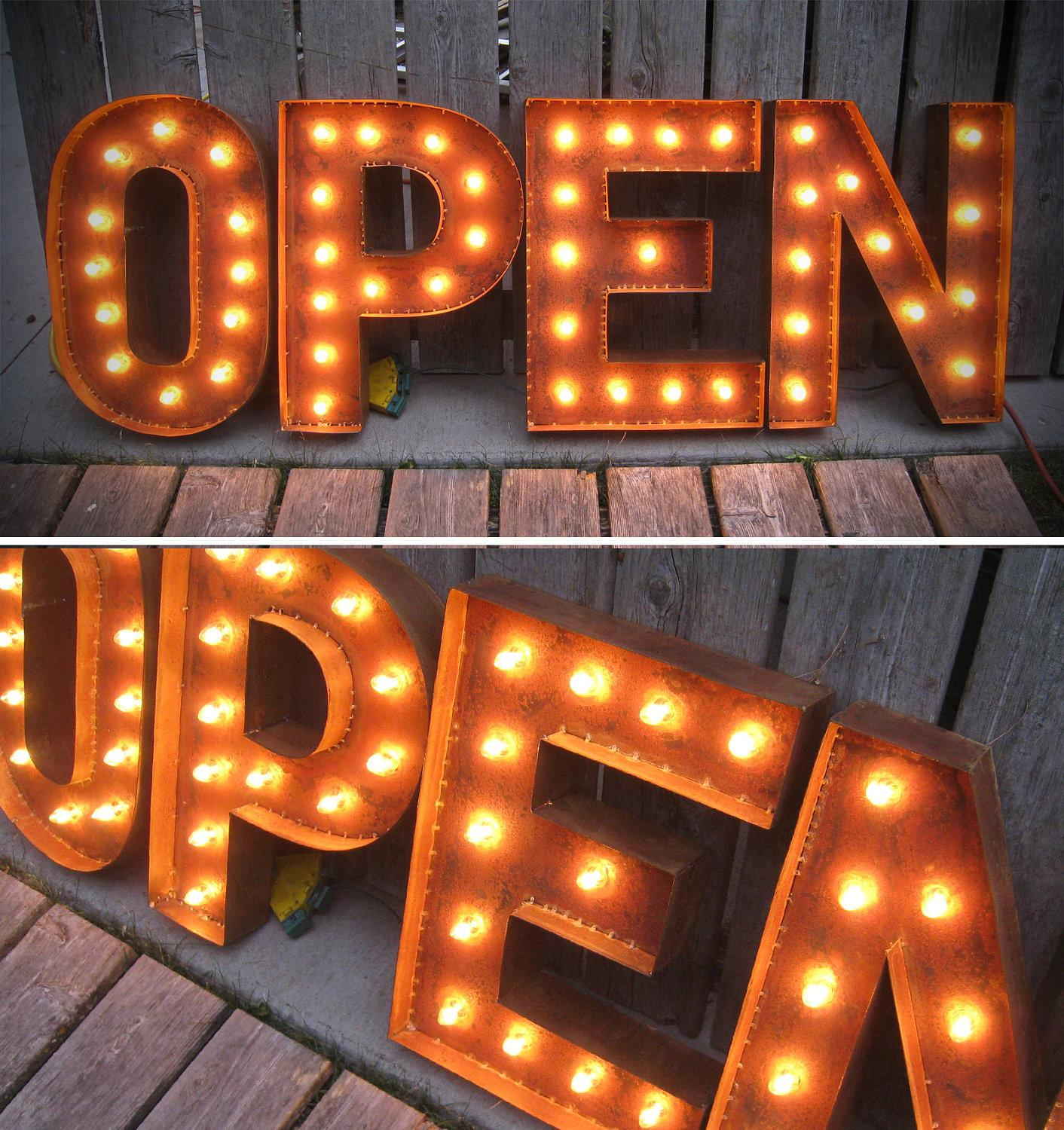 Tall Open Letters Marquee Lights Patina