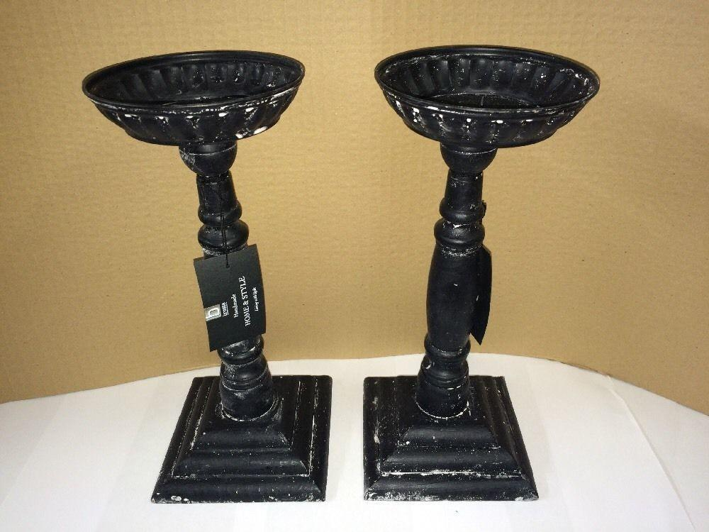 Tall Wooden Hand Made Black Candle Holders Patina