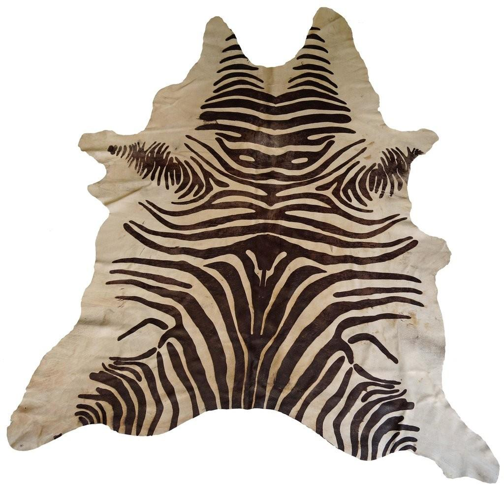 Tan Acid Wash Zebra Cowhide Rug Design Hides Burke