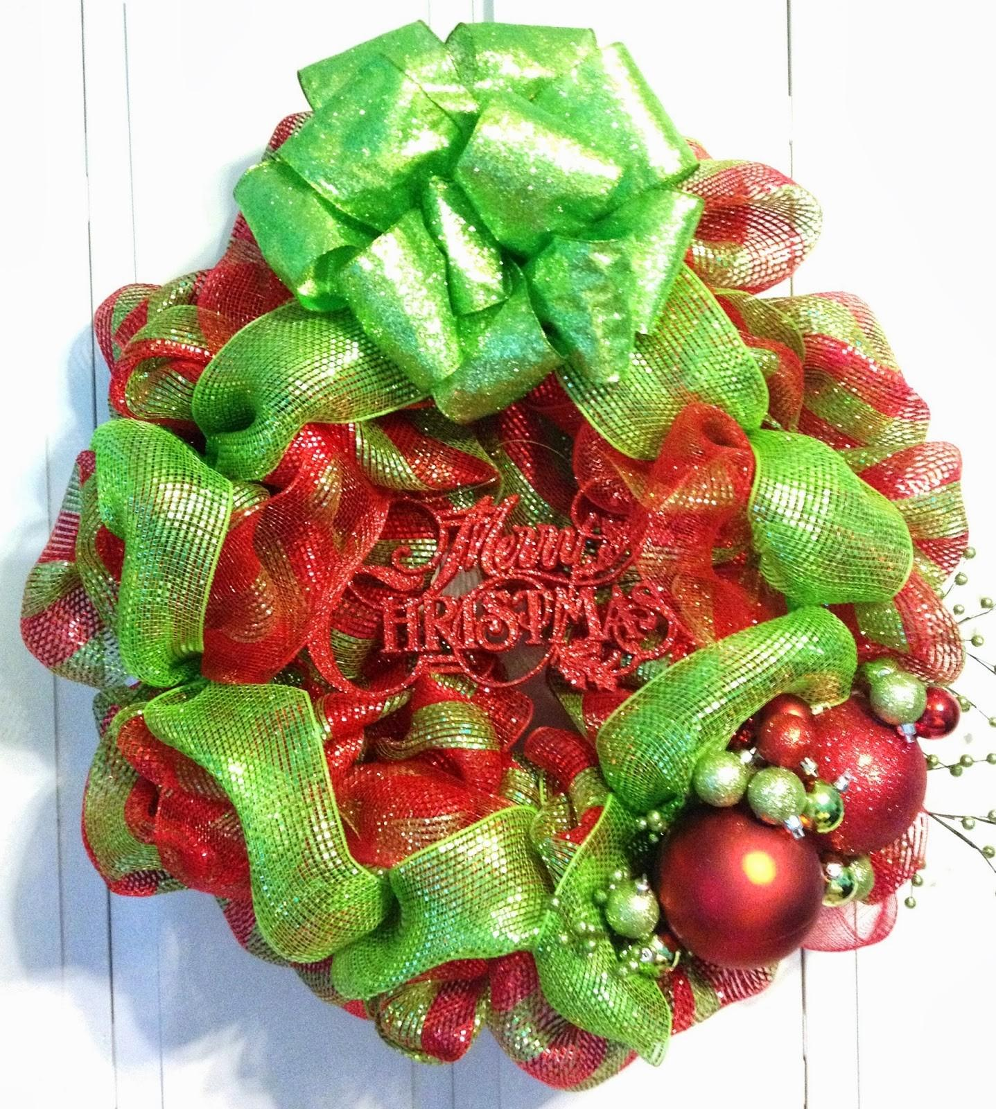 Tangled Wreaths Christmas Deco Mesh Lime Green Red