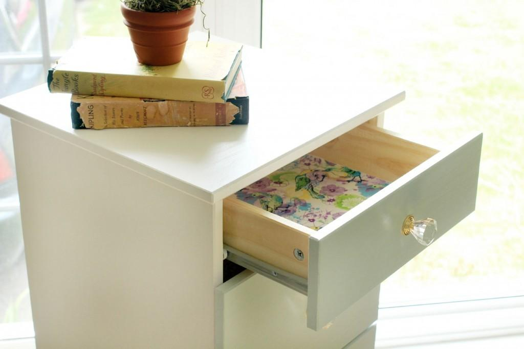 Tarva Dresser Makeover Fabric Lined Drawers