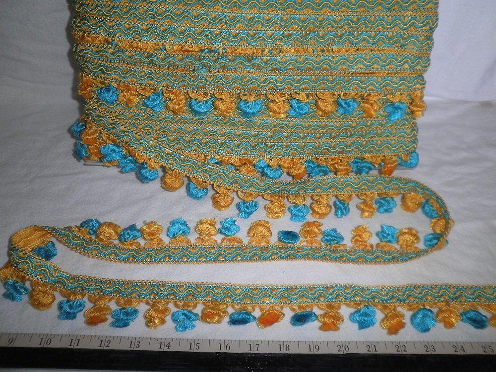 Tassel Ball Fringe Blue Yellow Fabric Trim Italy
