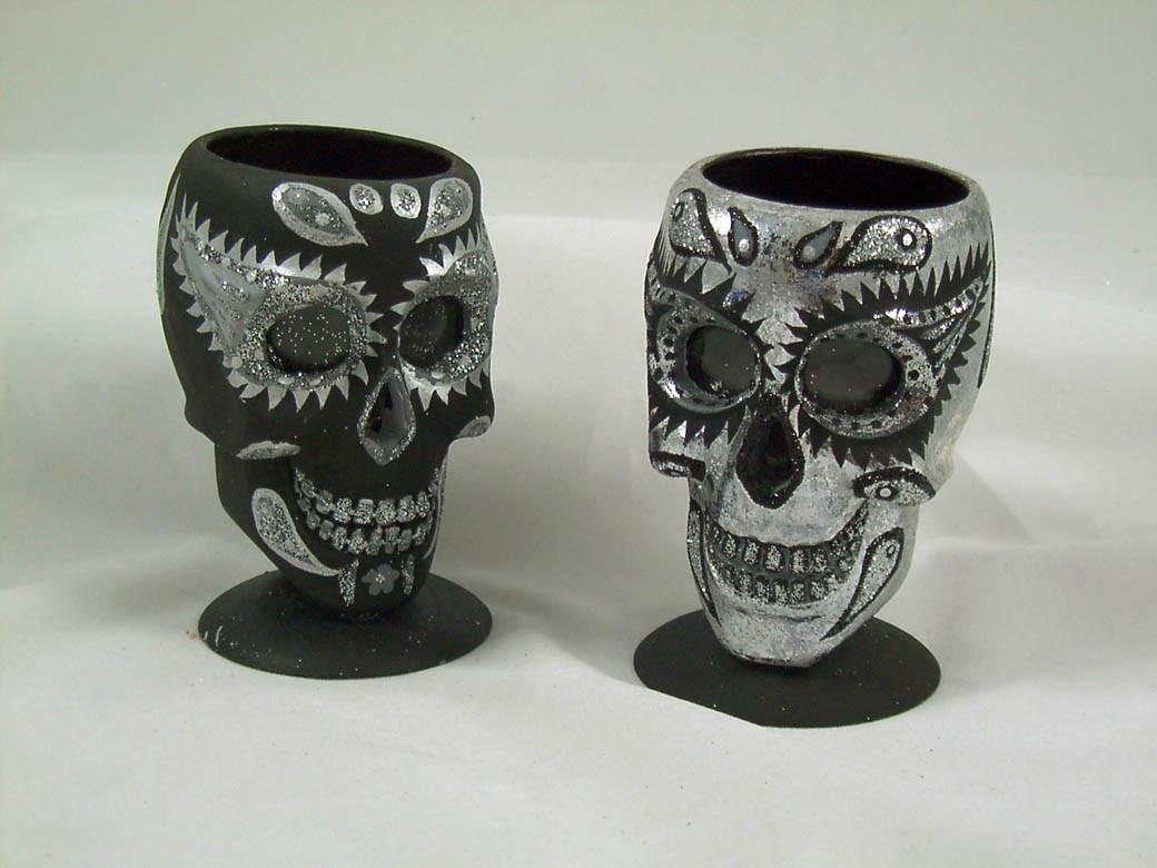 Tattoo Skull Day Dead Votive Candle Holders