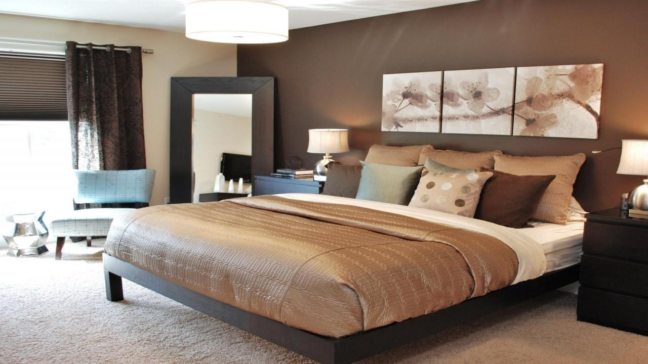 Taupe Bedrooms Master Bedroom Accent Wall Brown