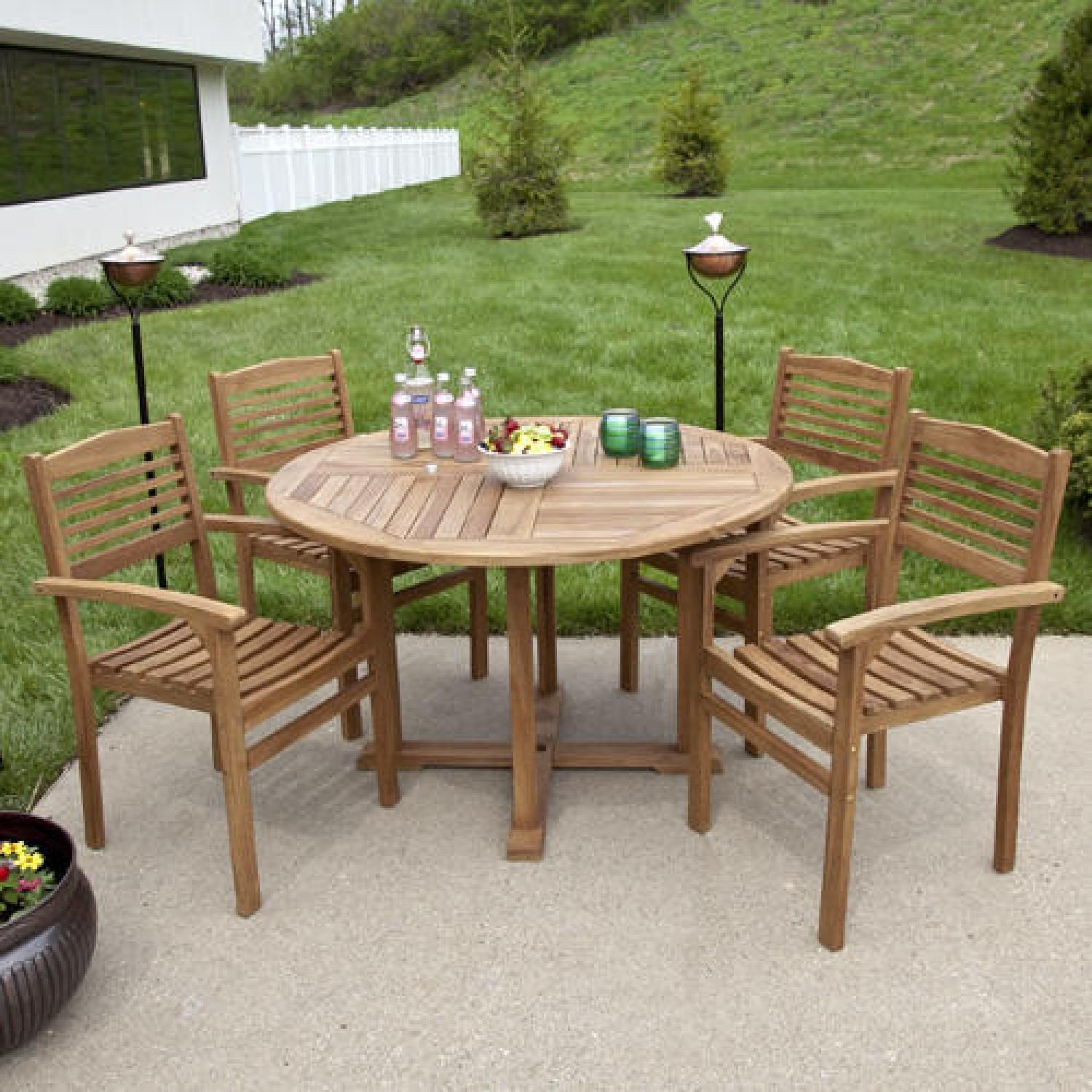 Teak Outdoor Round Dining Table Set Stacking Chairs