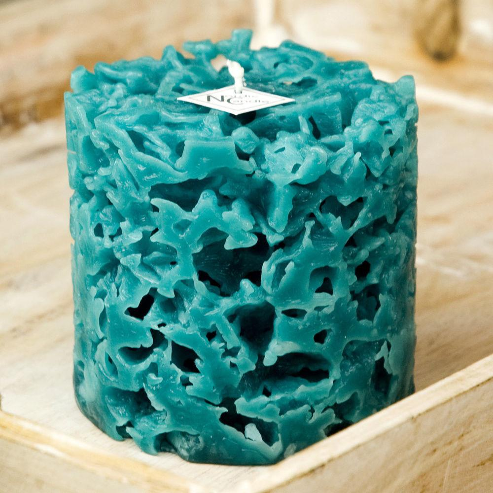 Teal Pillar Candle Coral Shaped Ice Beach