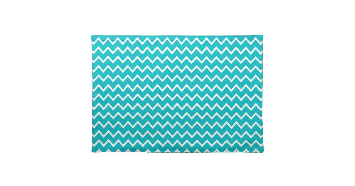 Teal Turquoise Blue Chevron Zigzag Pattern Cloth Placemat