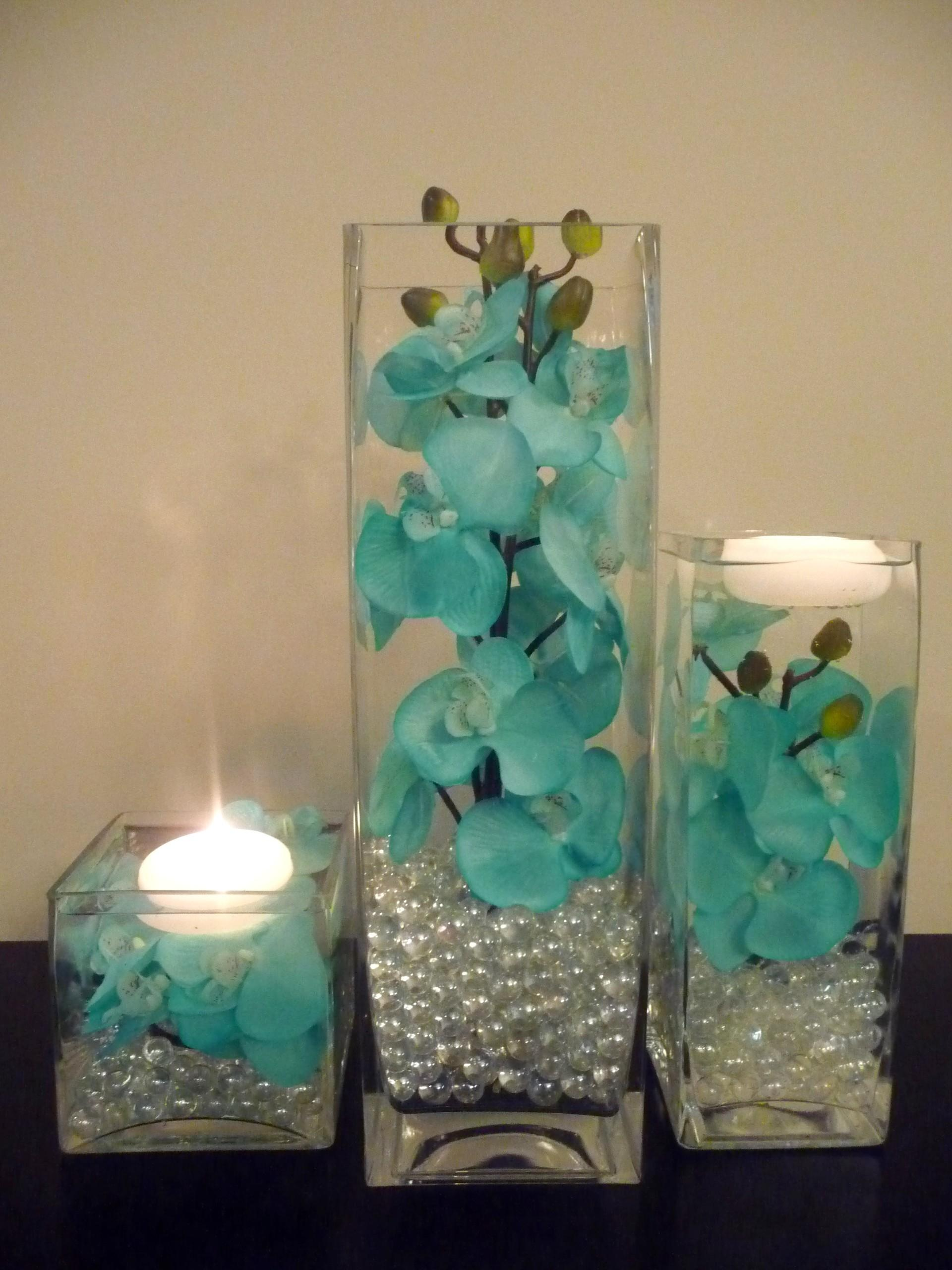 Teal Turquoise Hand Painted Orchids Vase