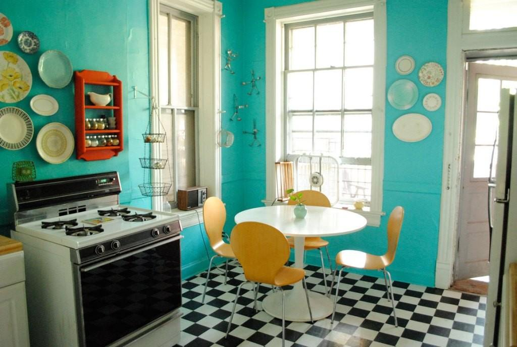 Teal Wall Paint Color Chess Board Tile Floor Plans
