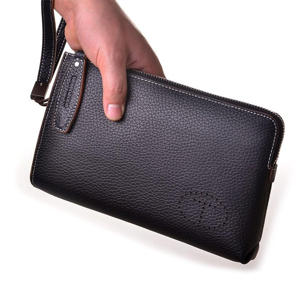 Teemzone Men Top Genuine Leather Business Clutch Bag