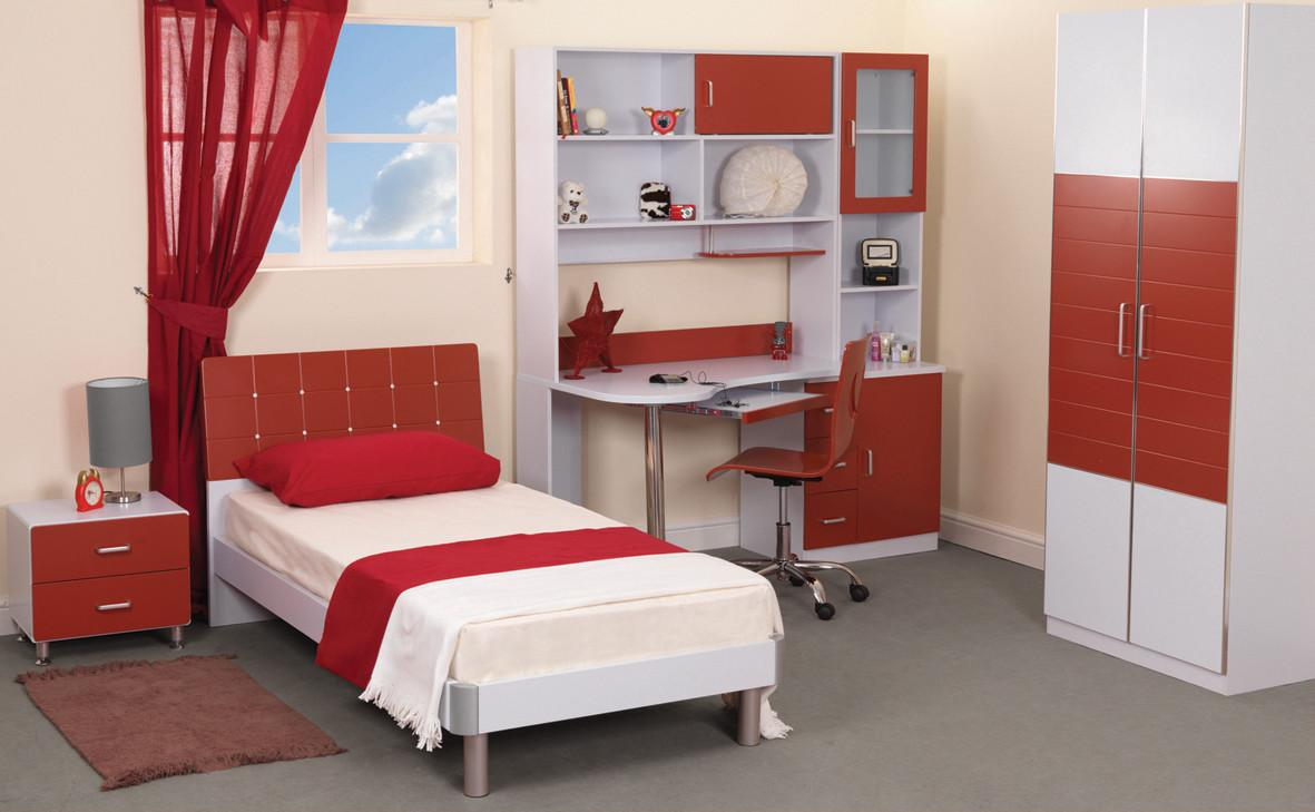Teen Bedroom Furniture Red White Color Artenzo