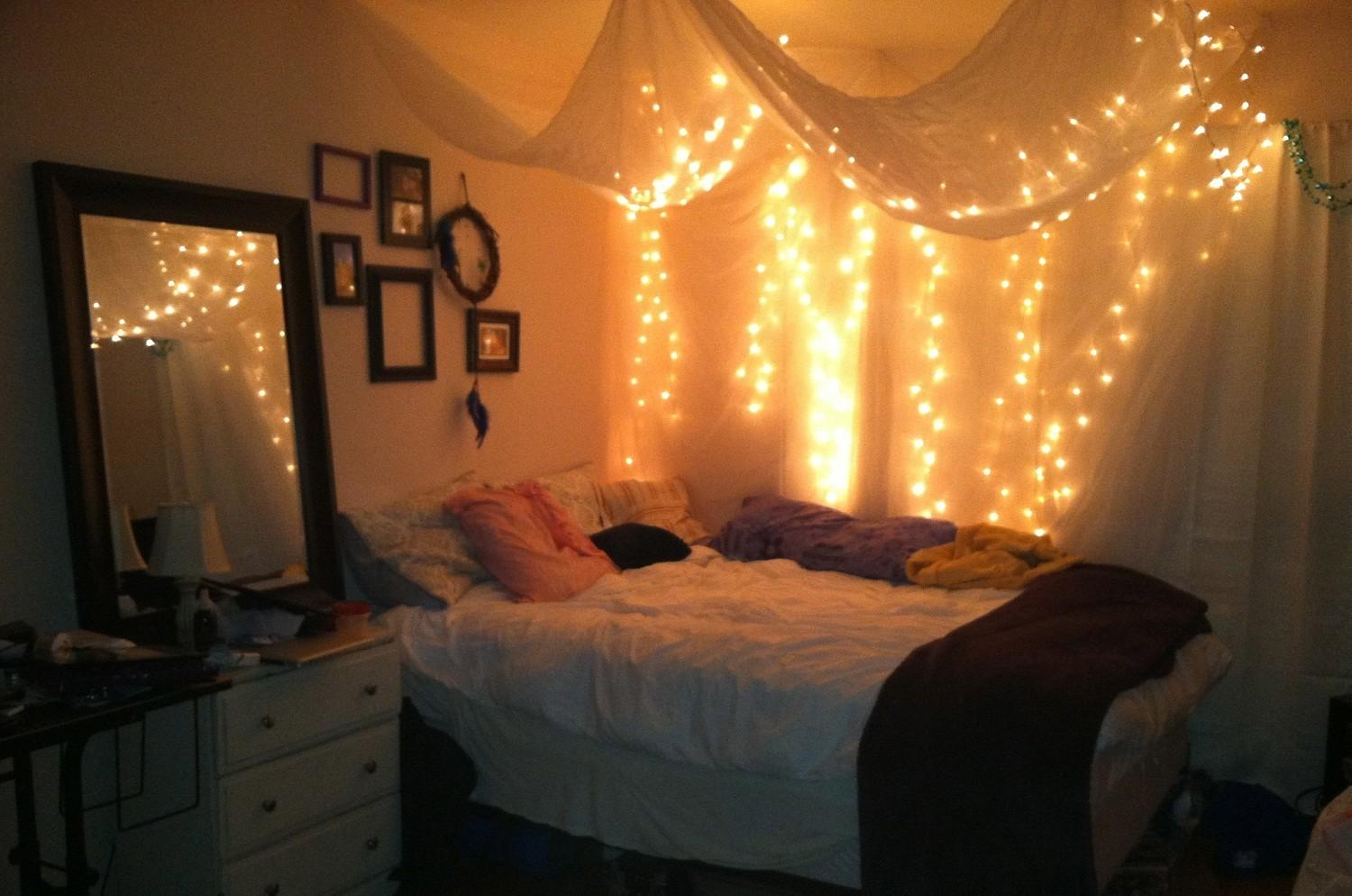 Teenage Girl Bedroom Design Hanging White Canopy Bed
