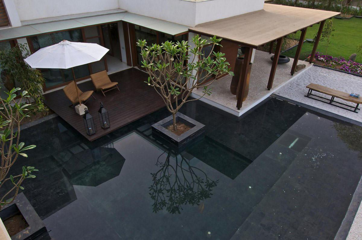 Terrace Water Feature Courtyard House Hiren Patel