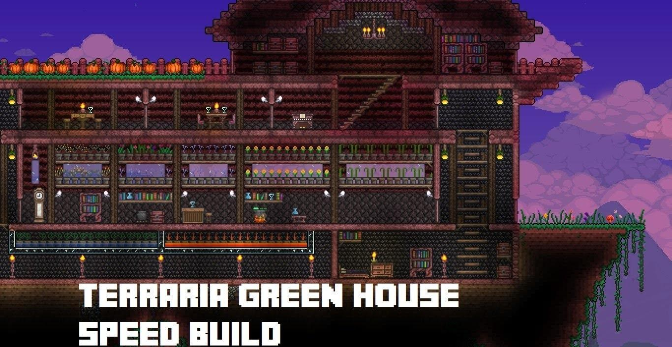 Terraria Floating Island Green House Speed Build