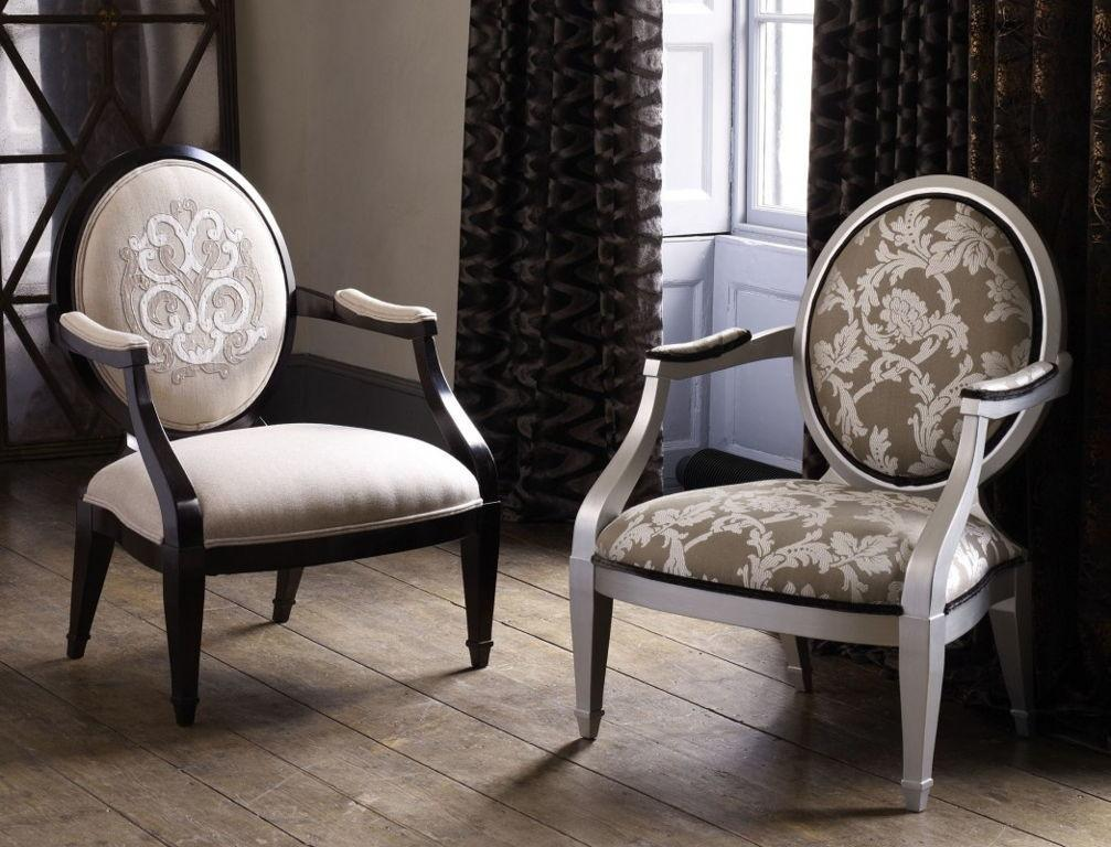 Terrific Neo Classic Oval Back Arm Chair Design