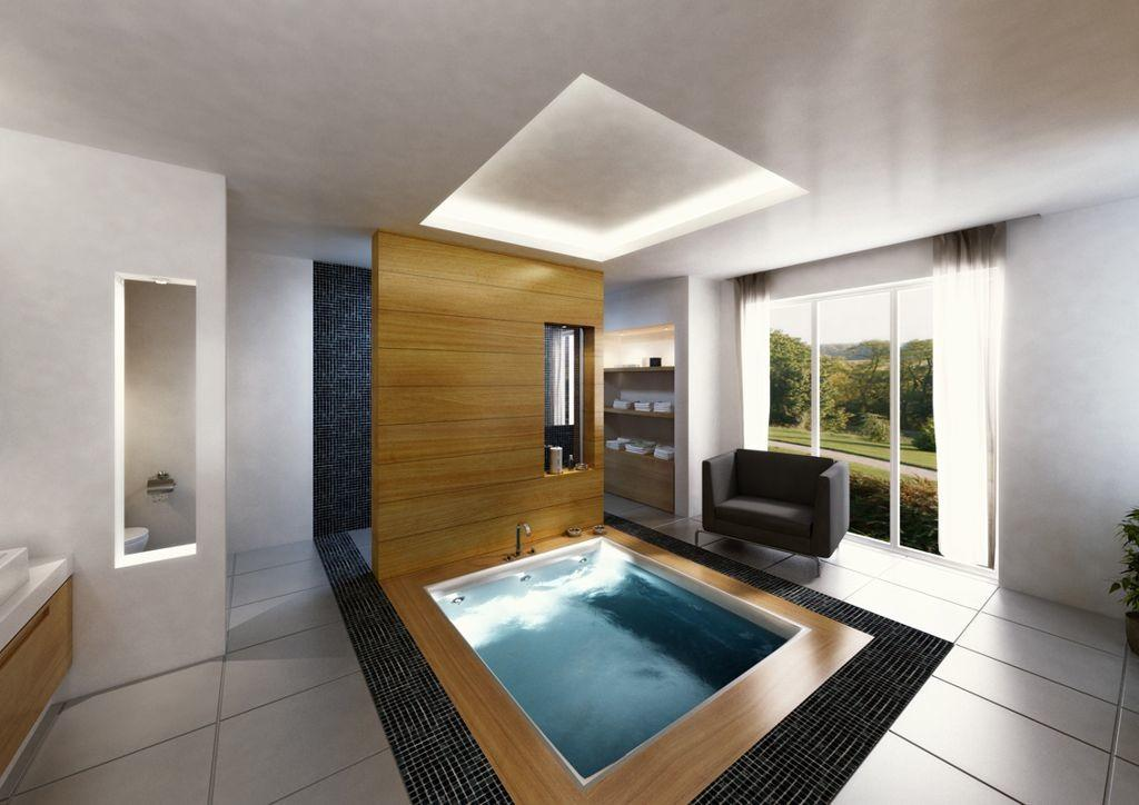 Terrific Spa Bathroom Designs Rectangle Modern Wooden
